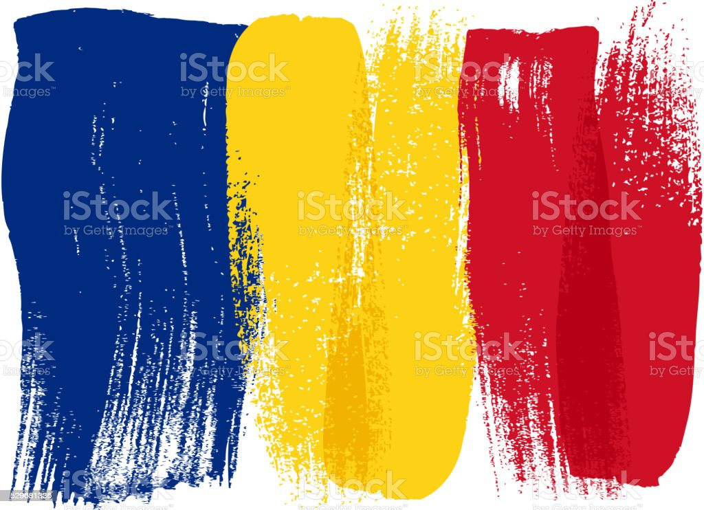 Romania colorful brush strokes painted flag vector art illustration