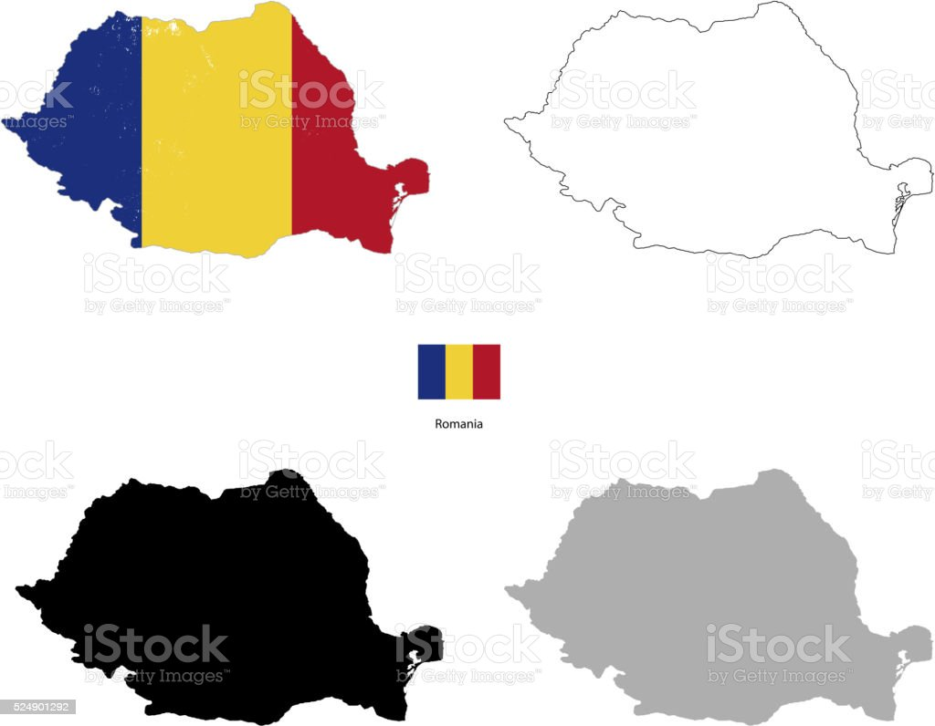 Romania country black silhouette and with flag on background vector art illustration