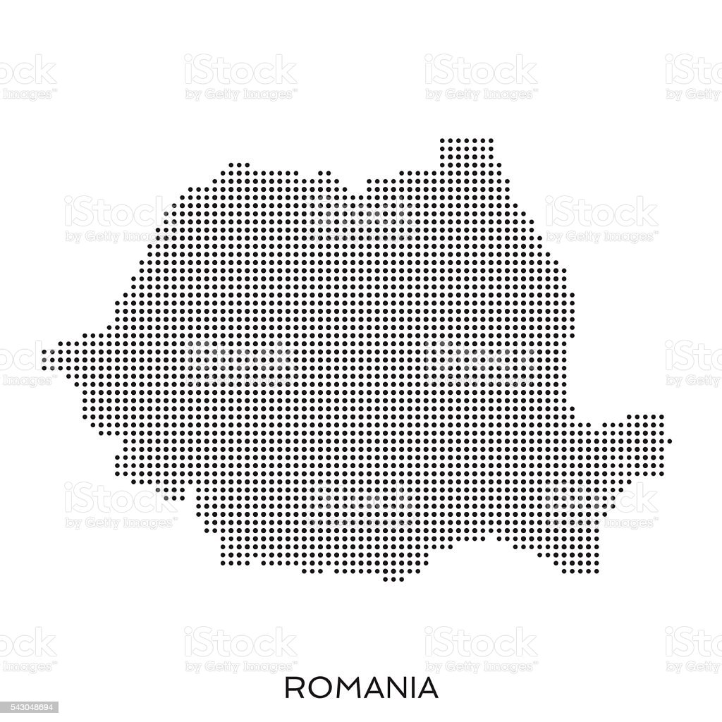 Romania dot halftone pattern map vector art illustration