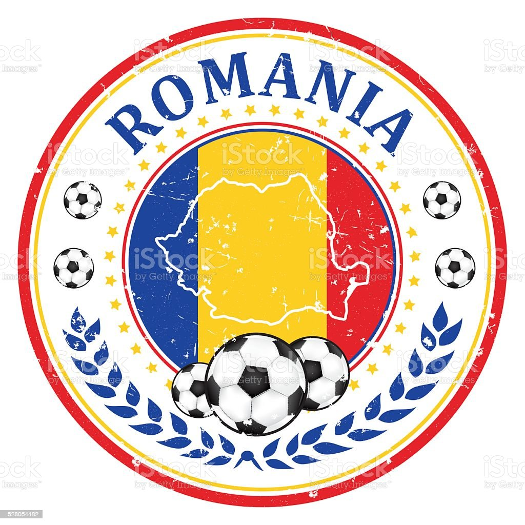Romania football team stamp for print vector art illustration