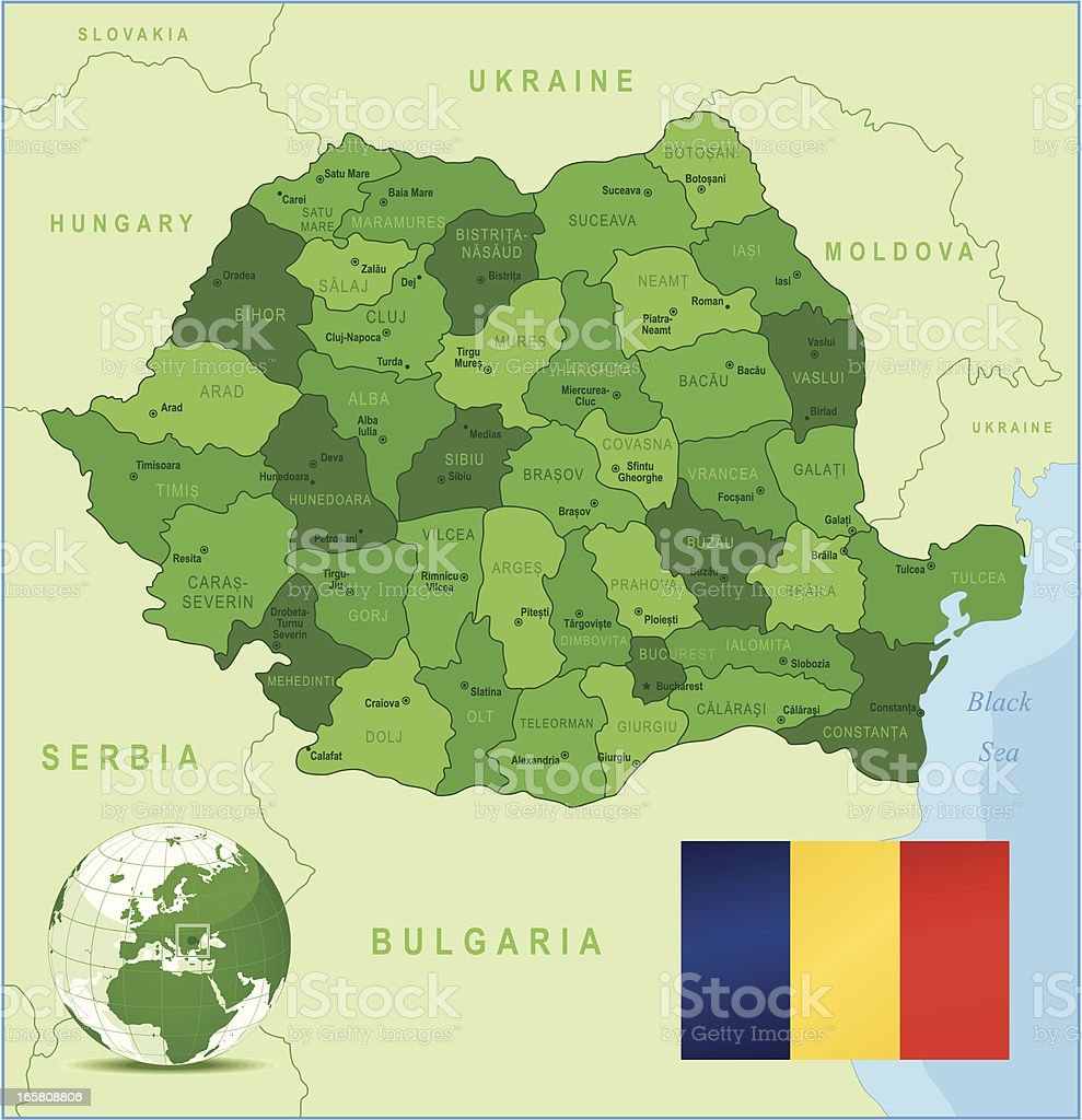 Romania - green highly detailed map royalty-free stock vector art