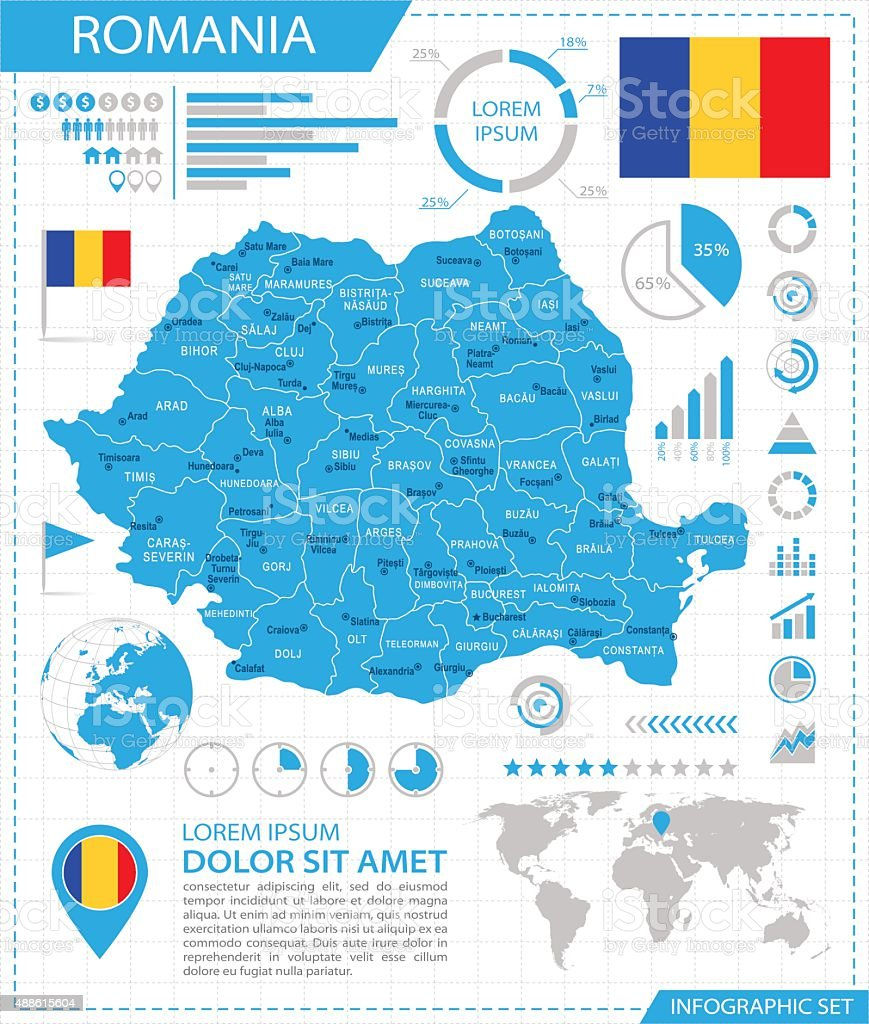 Romania - infographic map - Illustration vector art illustration