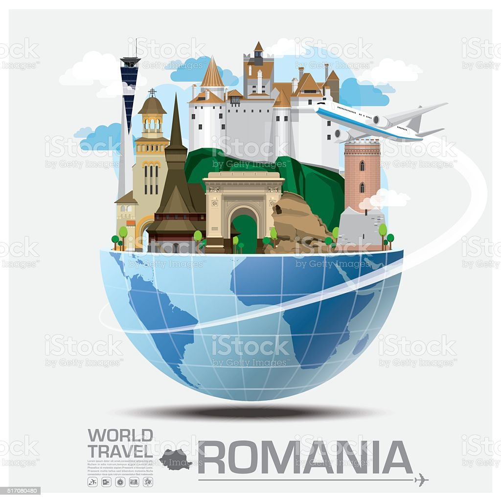 Romania Landmark Global Travel And Journey Infographic vector art illustration