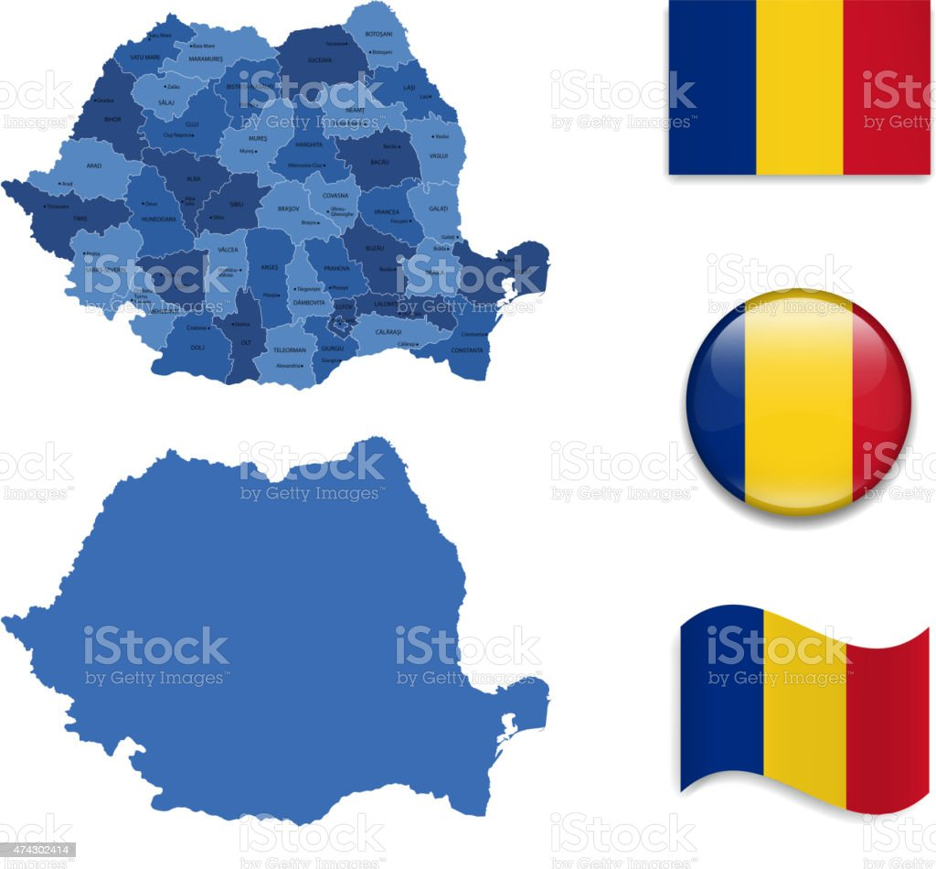 Romania Map and Flag Collection vector art illustration