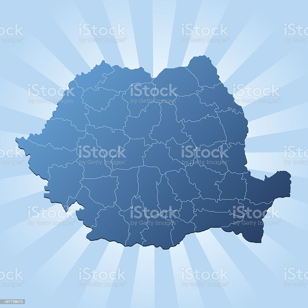 Romania map blue rays royalty-free stock vector art