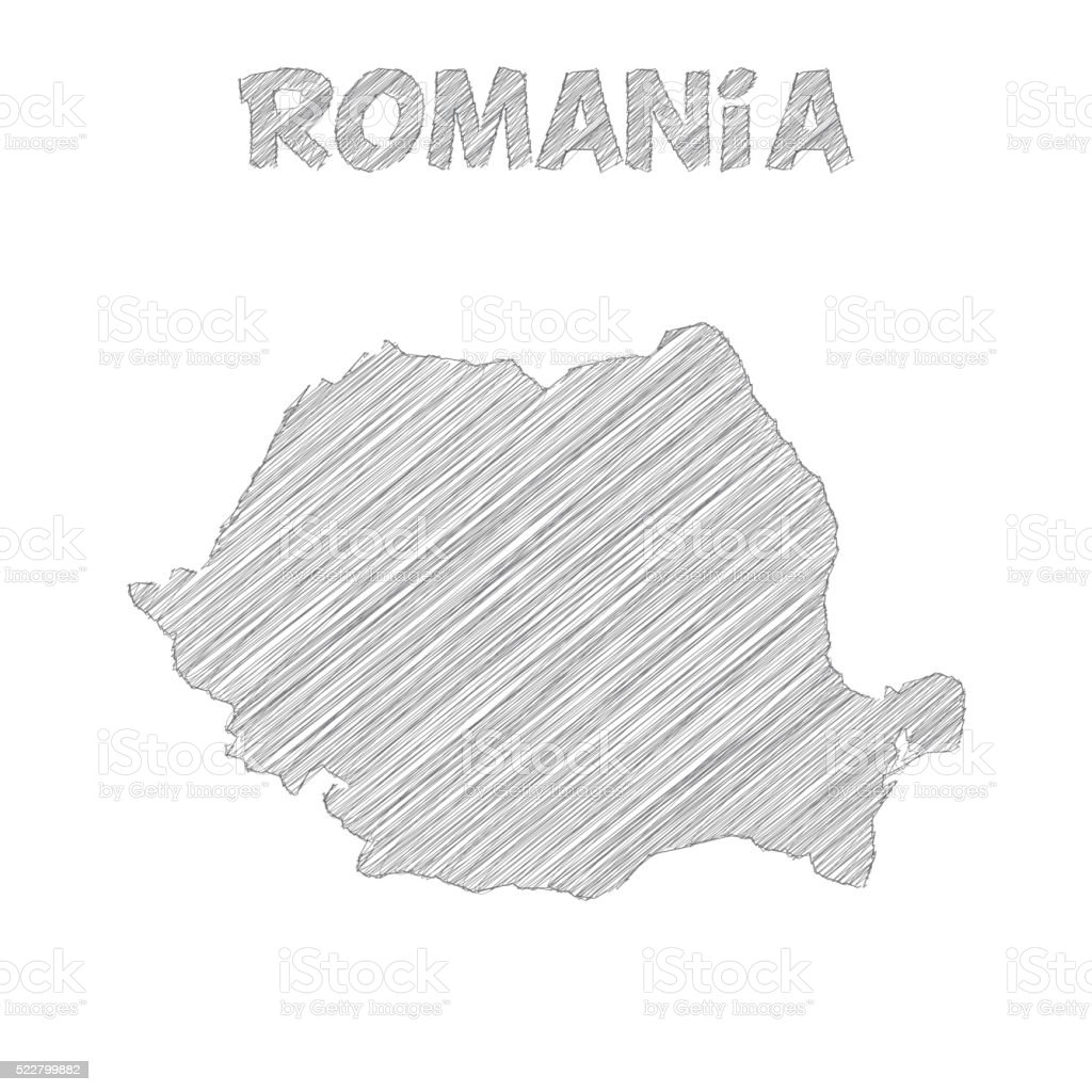 Romania map hand drawn on white background vector art illustration