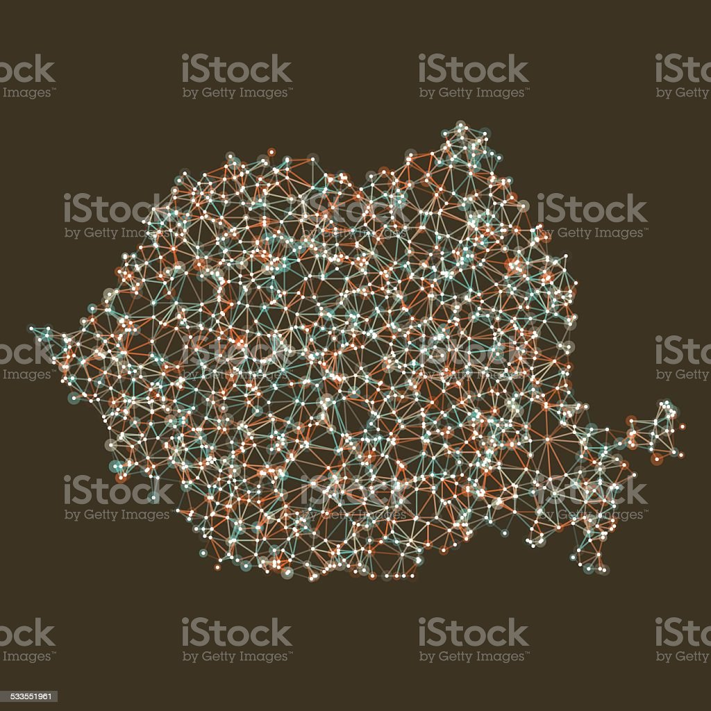 Romania Map Network Mesh vector art illustration
