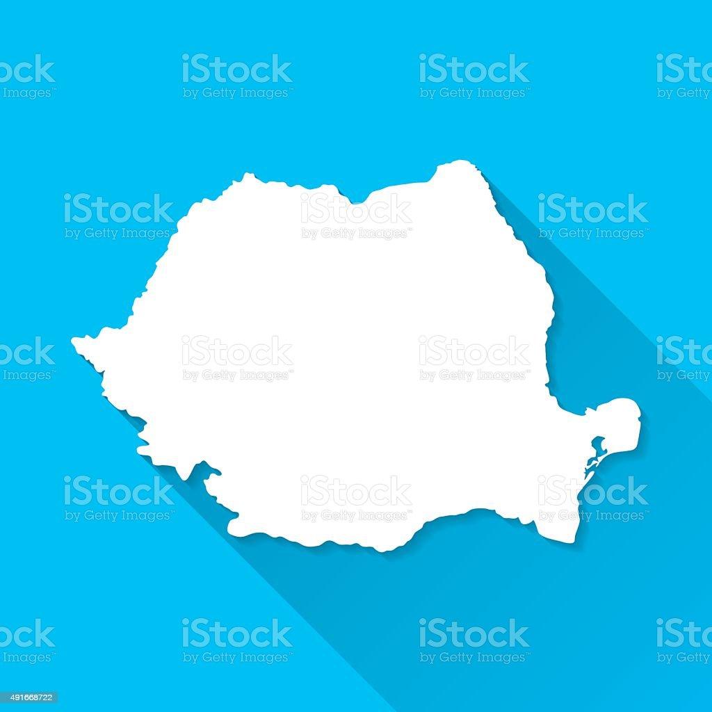 Romania Map on Blue Background, Long Shadow, Flat Design vector art illustration