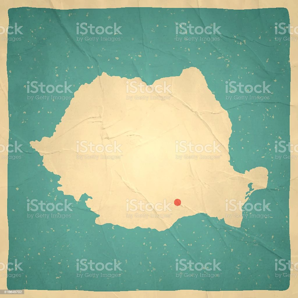 Romania Map on old paper - vintage texture vector art illustration