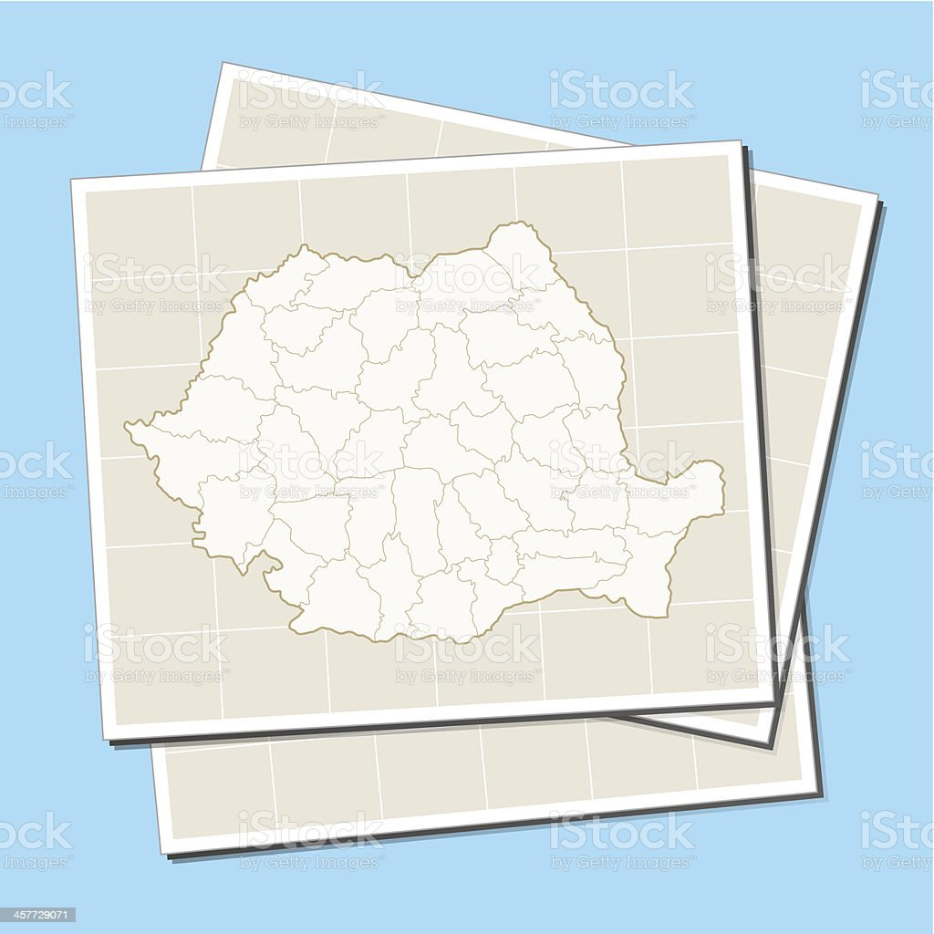 Romania map on paper royalty-free stock vector art