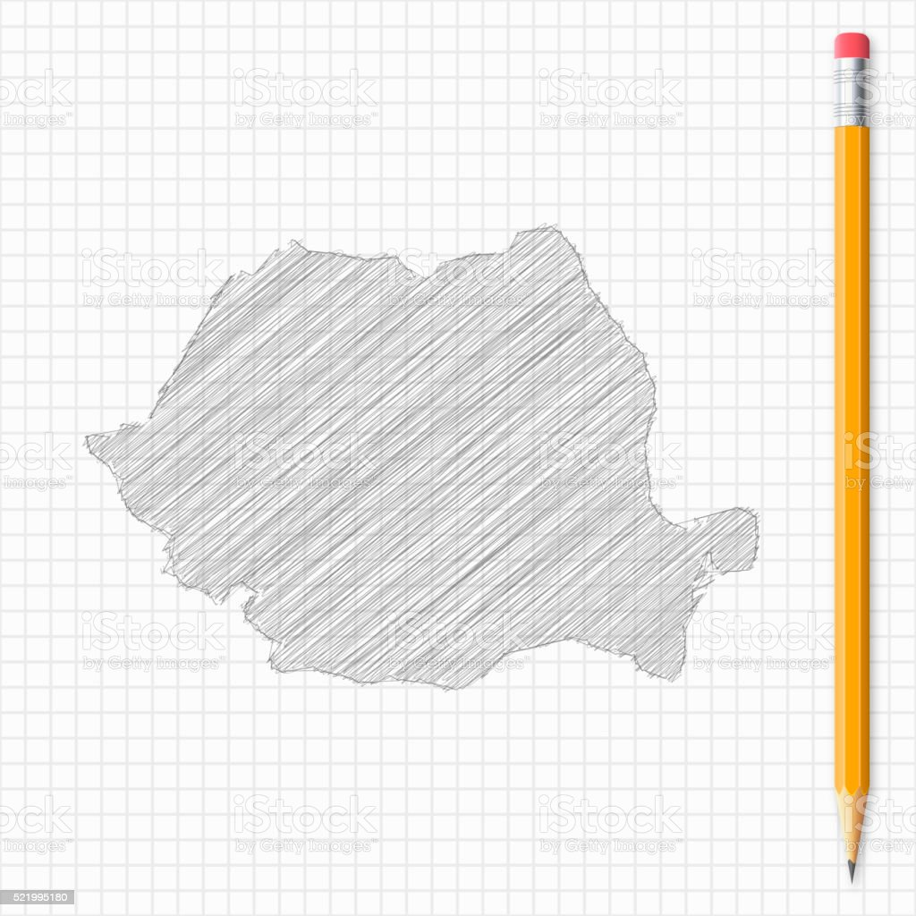 Romania map sketch with pencil on grid paper vector art illustration