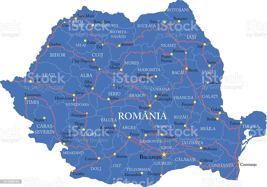 Romania map vector art illustration