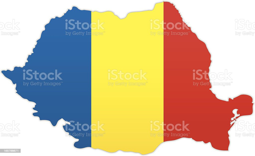 Romania map with flag royalty-free stock vector art