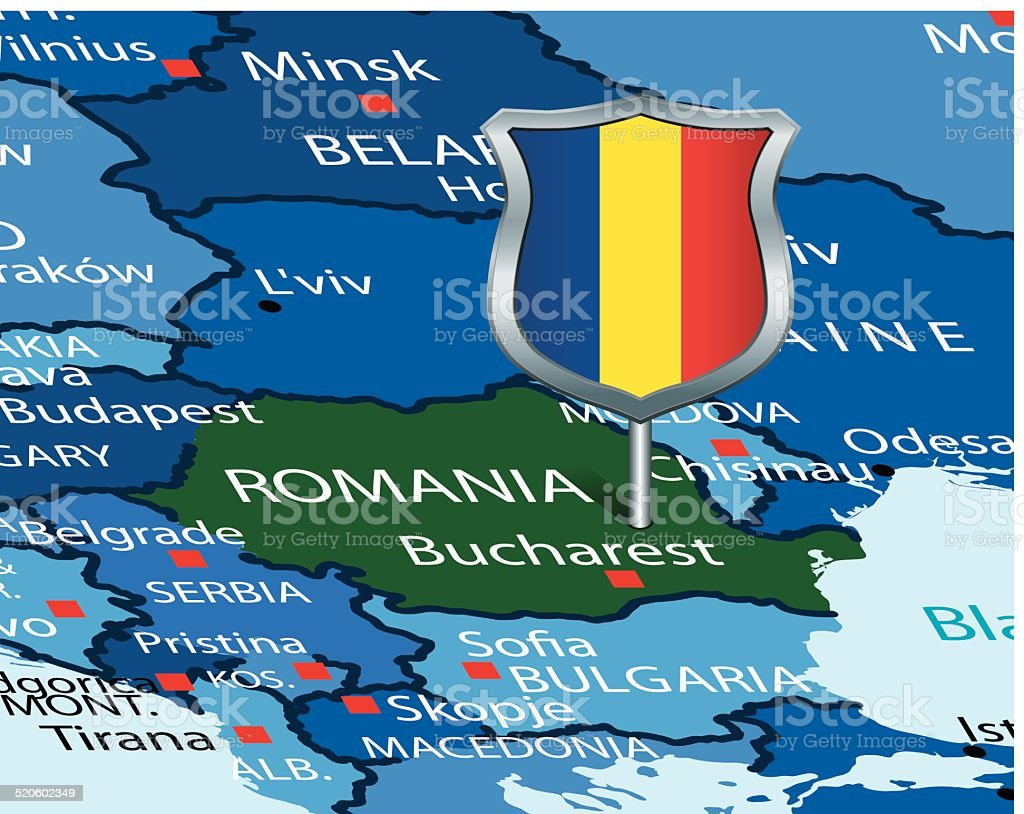 Romania map  with flag vector art illustration