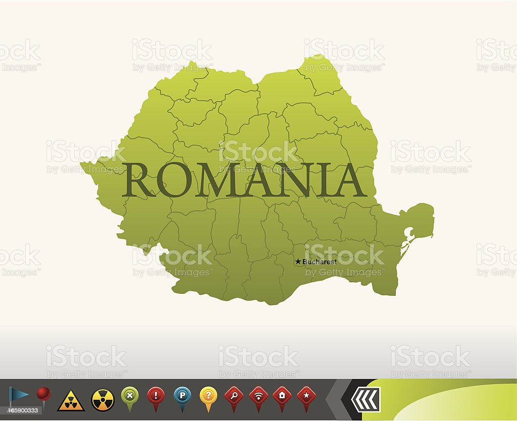 Romania map with navigation icons royalty-free stock vector art