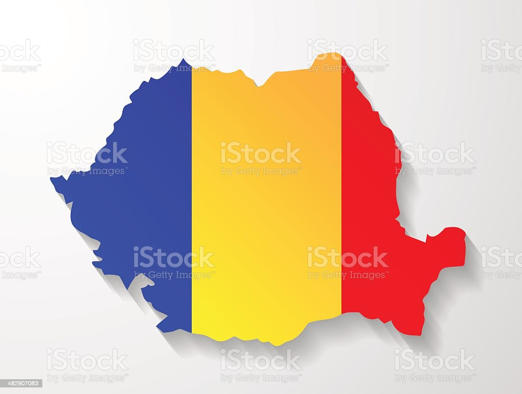 Romania map with shadow effect presentation vector art illustration