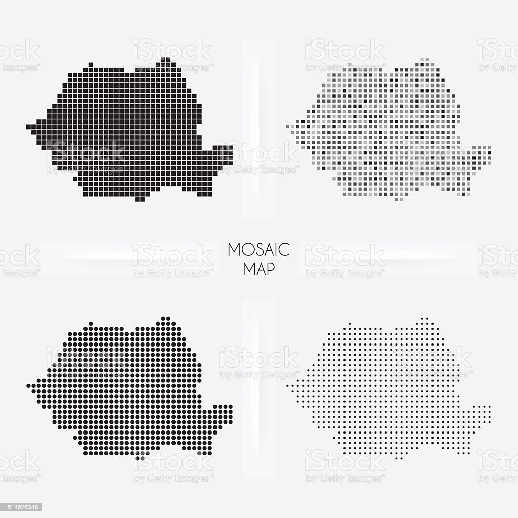 Romania maps - Mosaic squarred and dotted vector art illustration