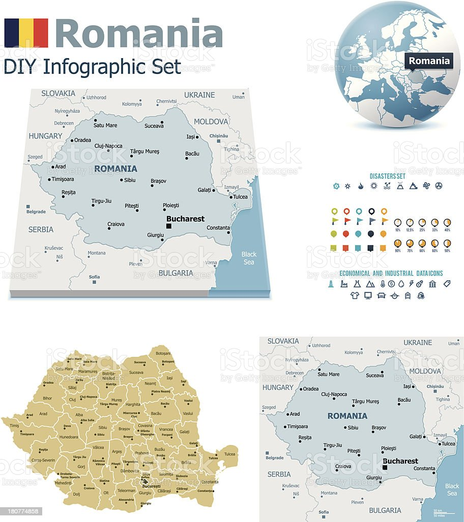 Romania maps with markers vector art illustration