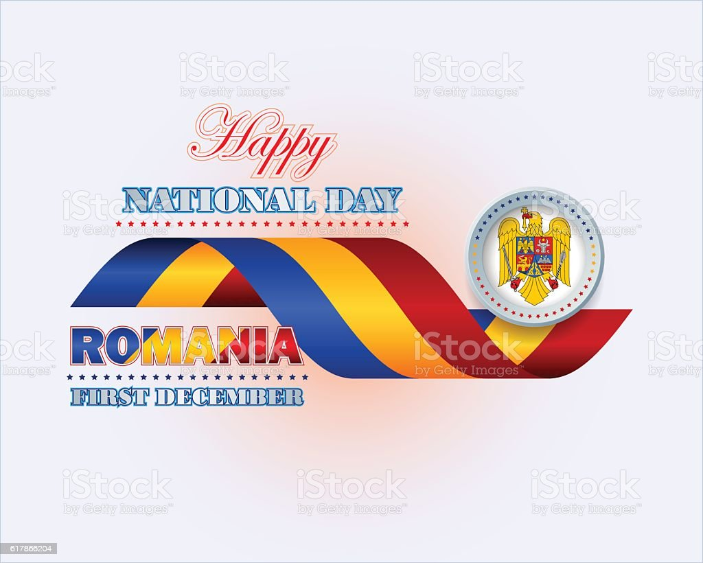Romania, national holiday vector art illustration