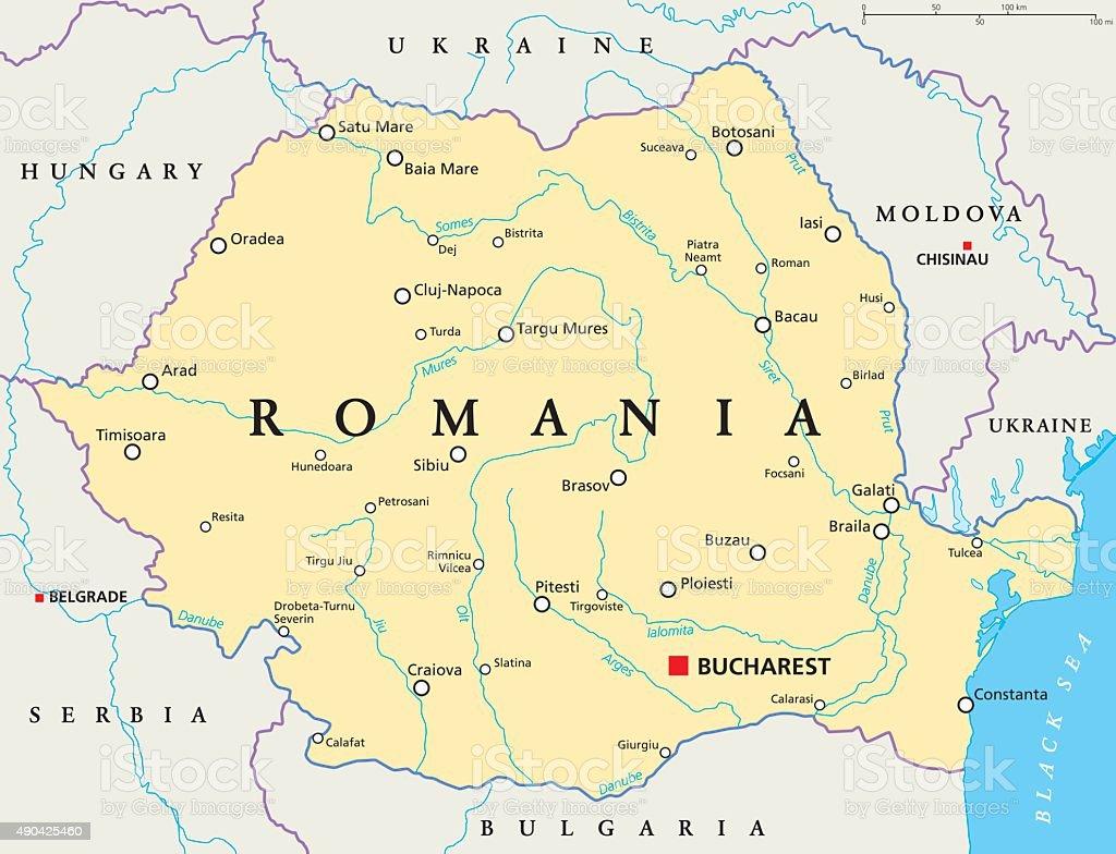 Romania Political Map vector art illustration