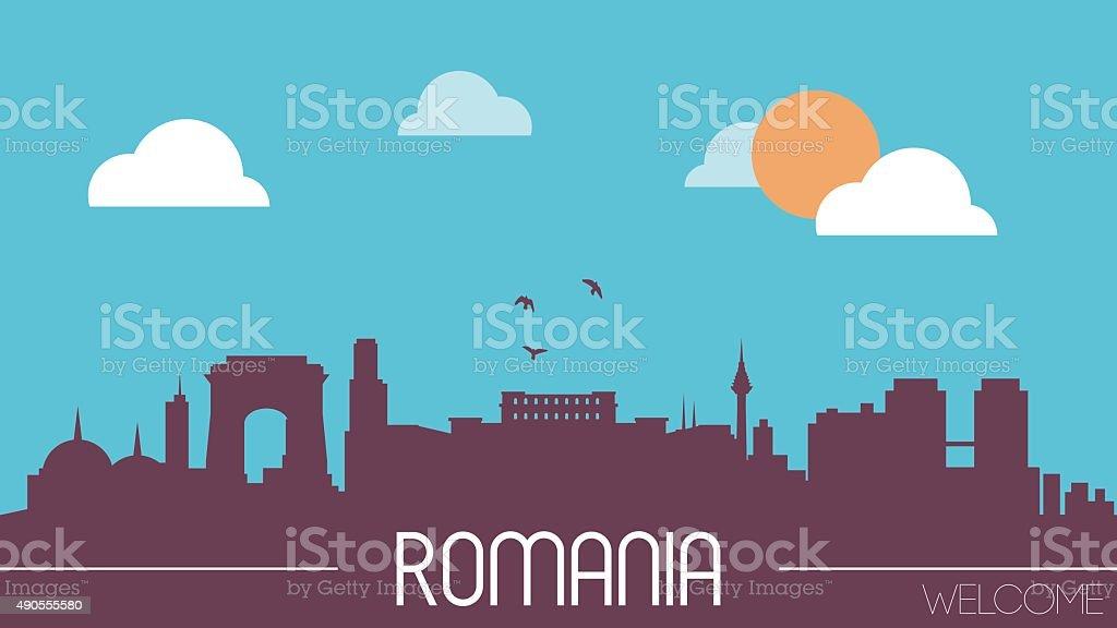 Romania skyline silhouette vector art illustration