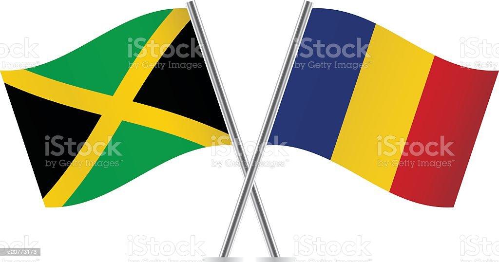 Romanian and Jamaican flags. Vector. vector art illustration