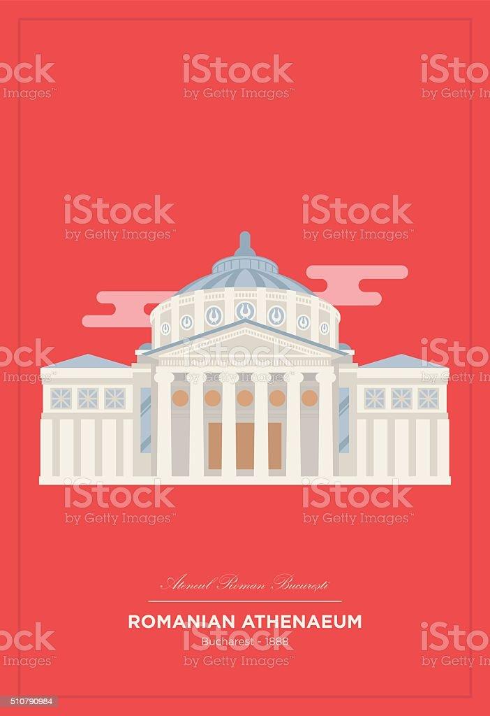 Romanian Athenaeum from Bucharest vector art illustration