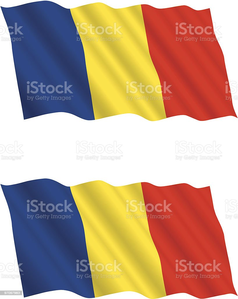Romanian Flag Flying in the Wind royalty-free stock vector art