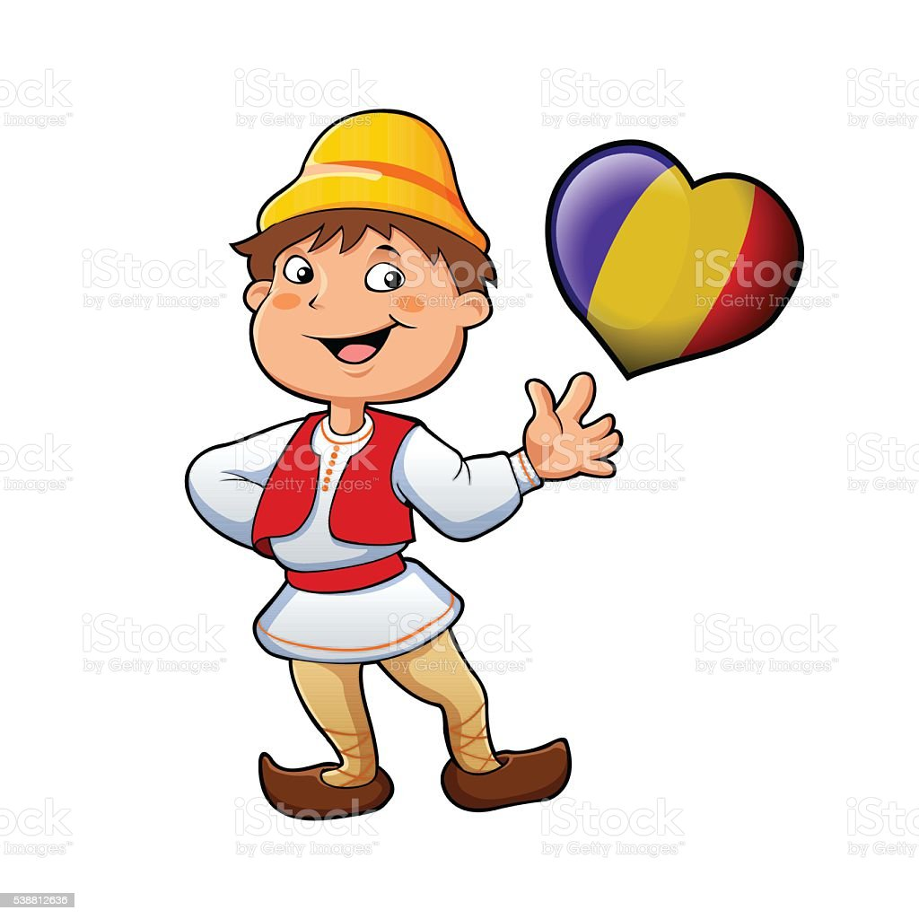 Romanian in typical clothing and the heart vector art illustration