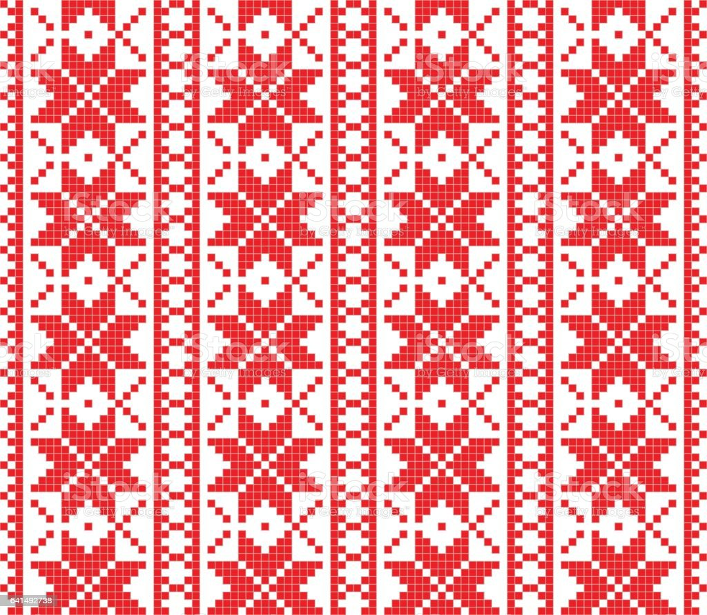 Romanian knitted embroidery pattern vector art illustration