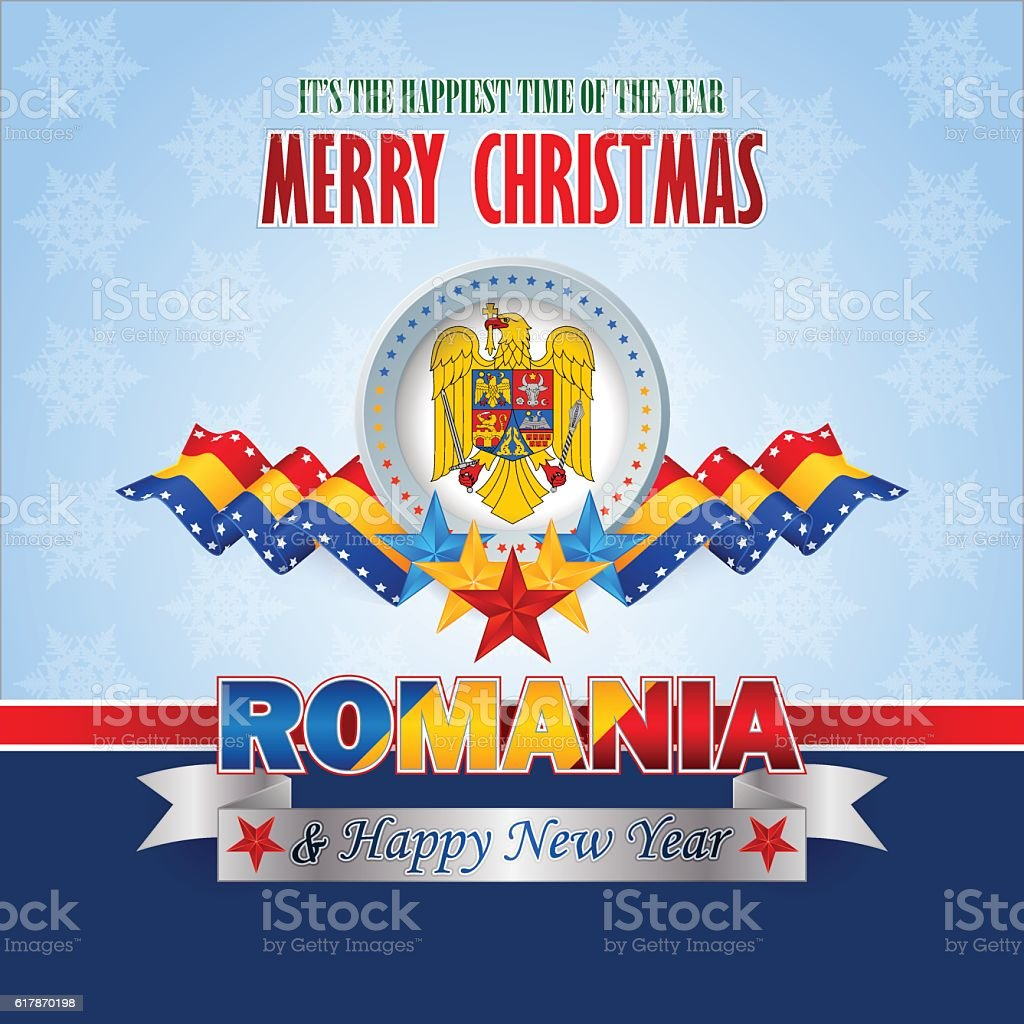 Romanian winter holidays, celebration vector art illustration