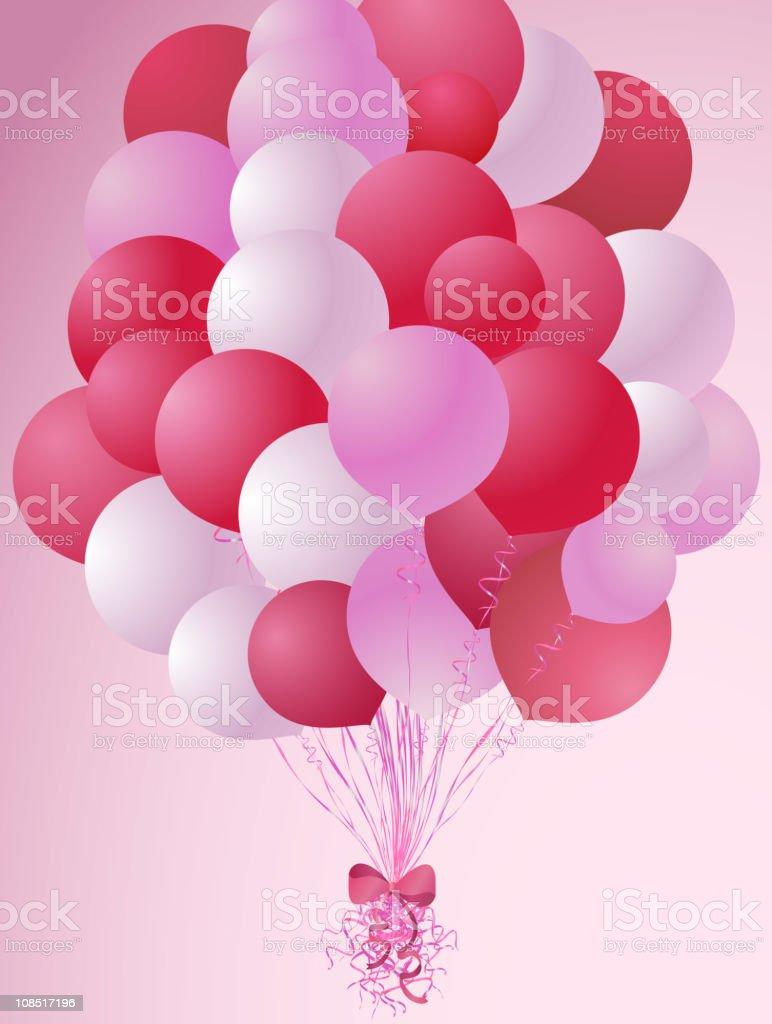 Romantic balloons composition vector art illustration
