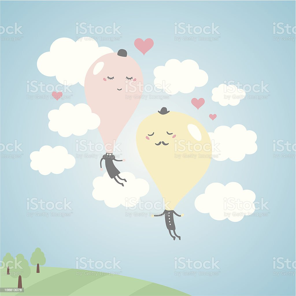 Romantic balloons in the sky with clouds. royalty-free stock vector art