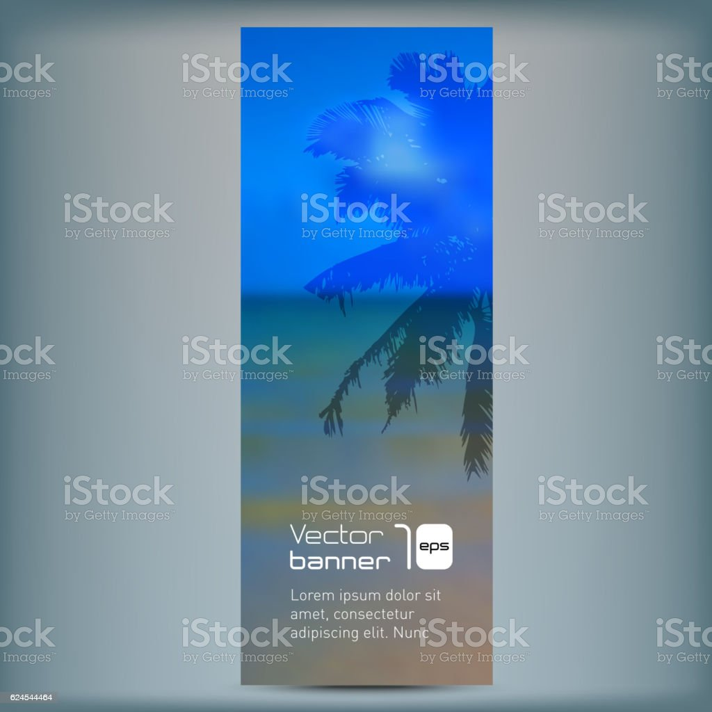 Romantic banner with seaside background. vector art illustration