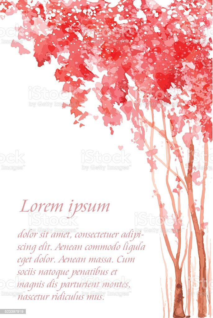Romantic card with pink blossom trees. vector art illustration