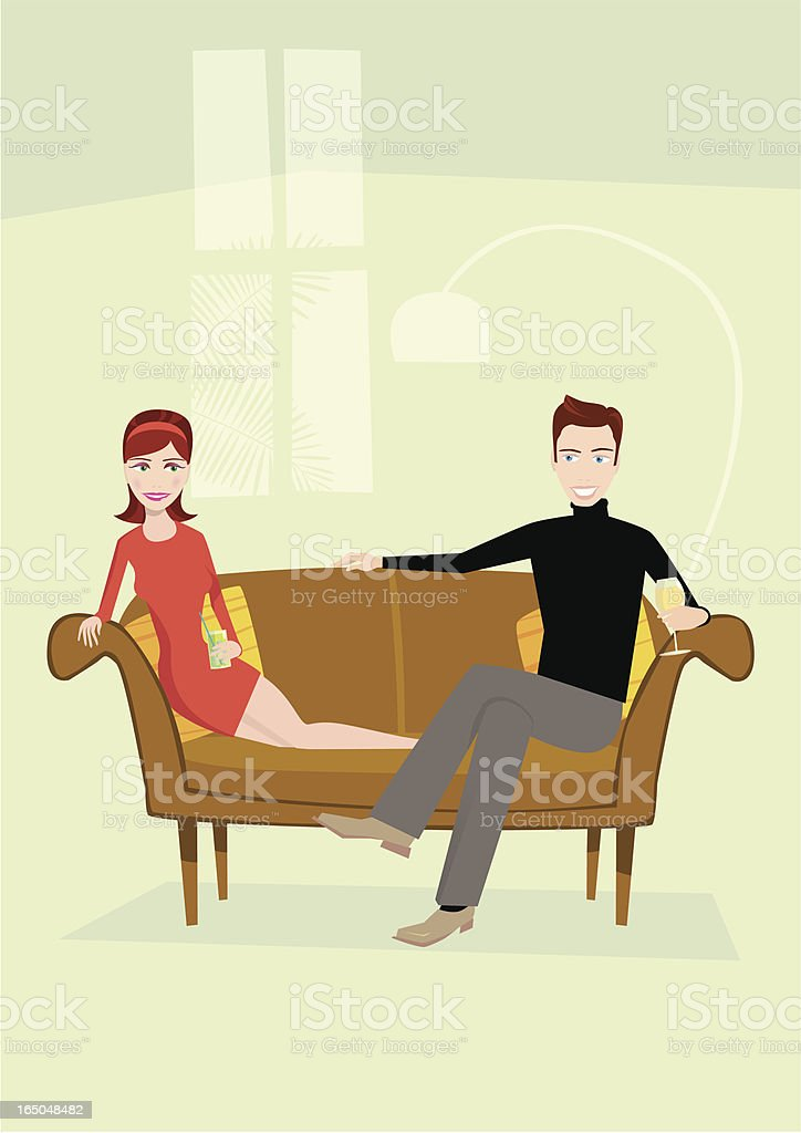 Romantic couple flirting on sofa royalty-free stock vector art