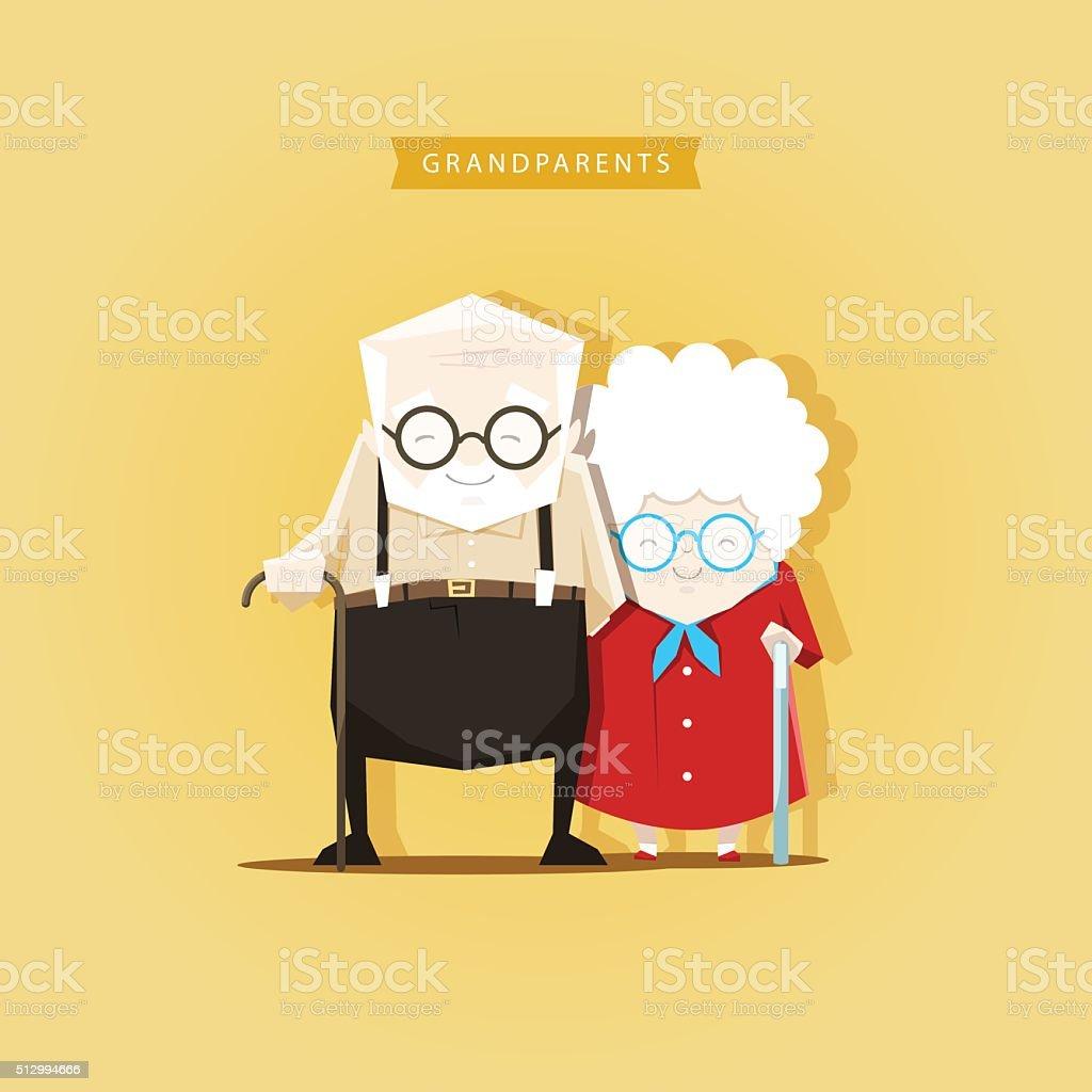 Romantic couple grandparents are standing vector art illustration