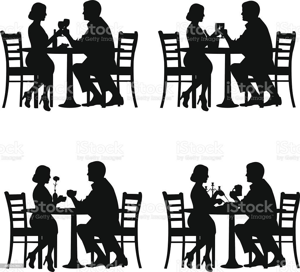 Romantic couple in dinner vector art illustration