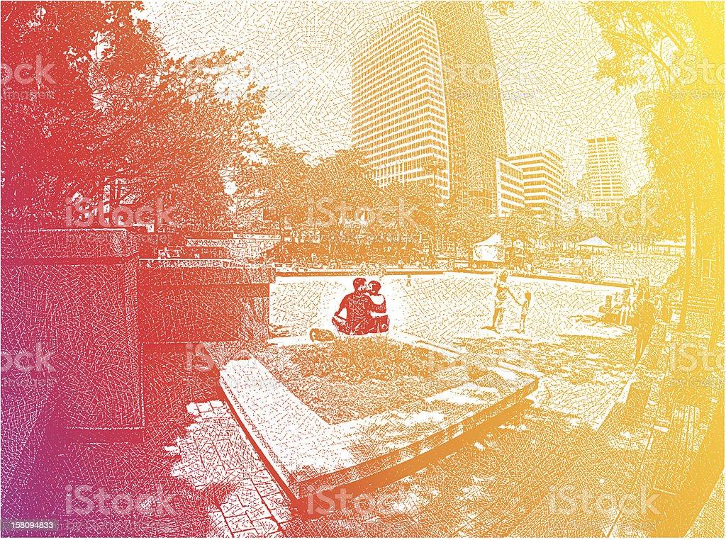 Romantic Couple Kissing In Park vector art illustration