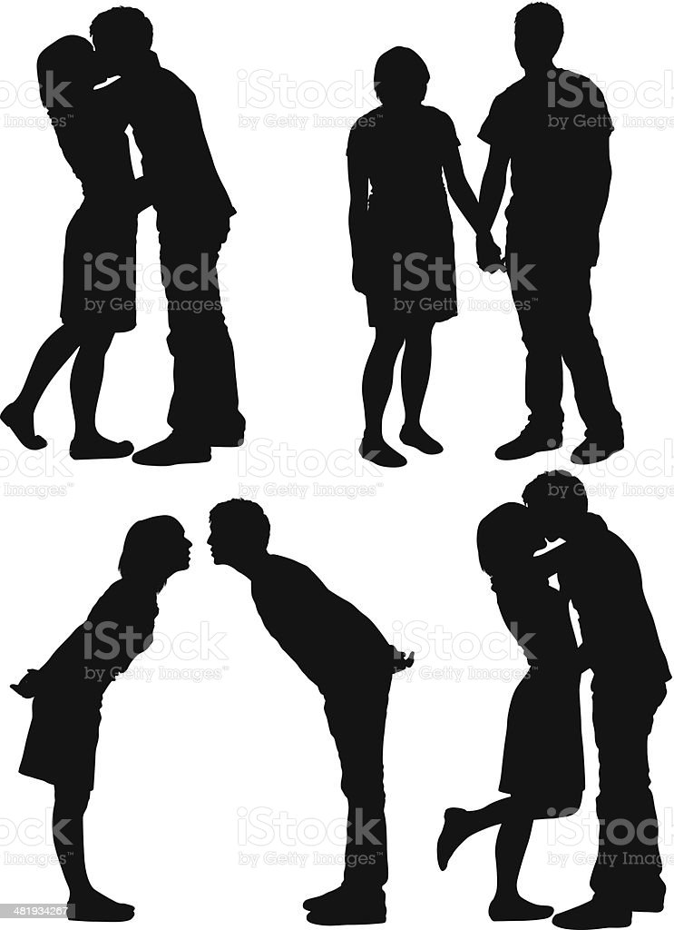 Romantic couple vector art illustration