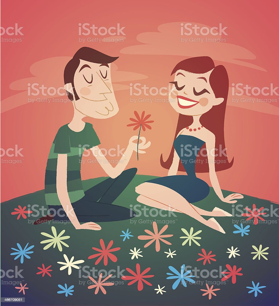 Romantic date. Valentine's Day Card. vector art illustration