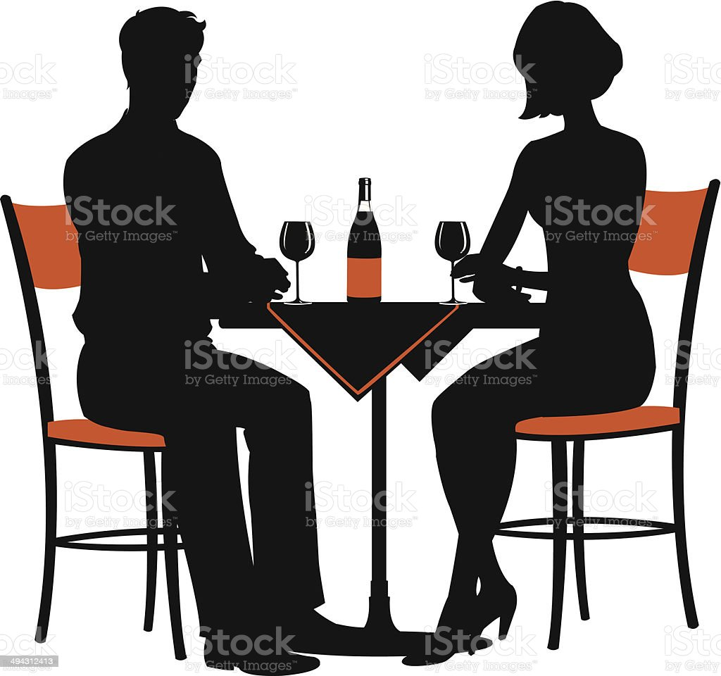 romantic dinner for two royalty-free stock vector art