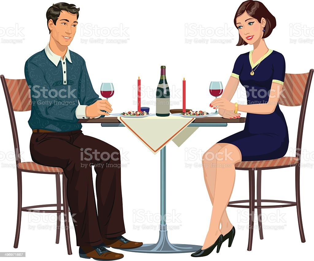 romantic dinner in a cafe for two royalty-free stock vector art
