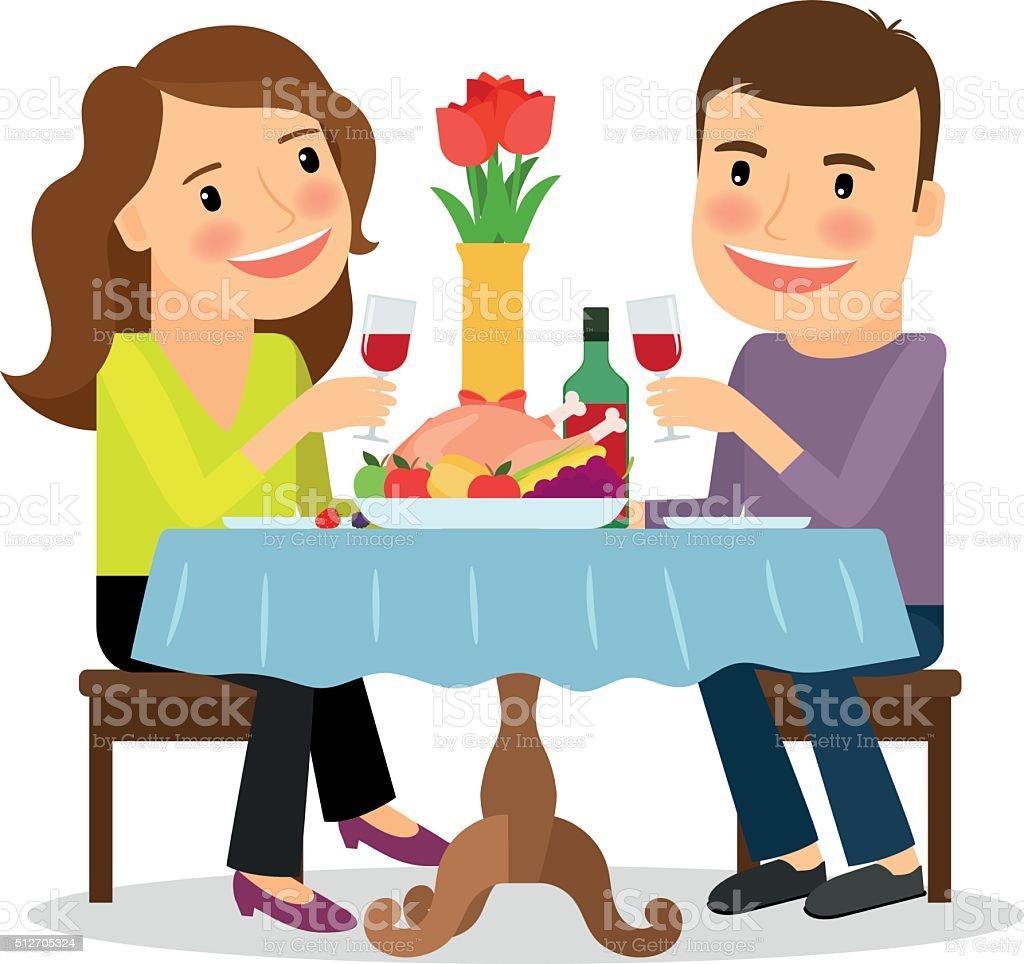 Romantic dinner in a restaurant vector art illustration