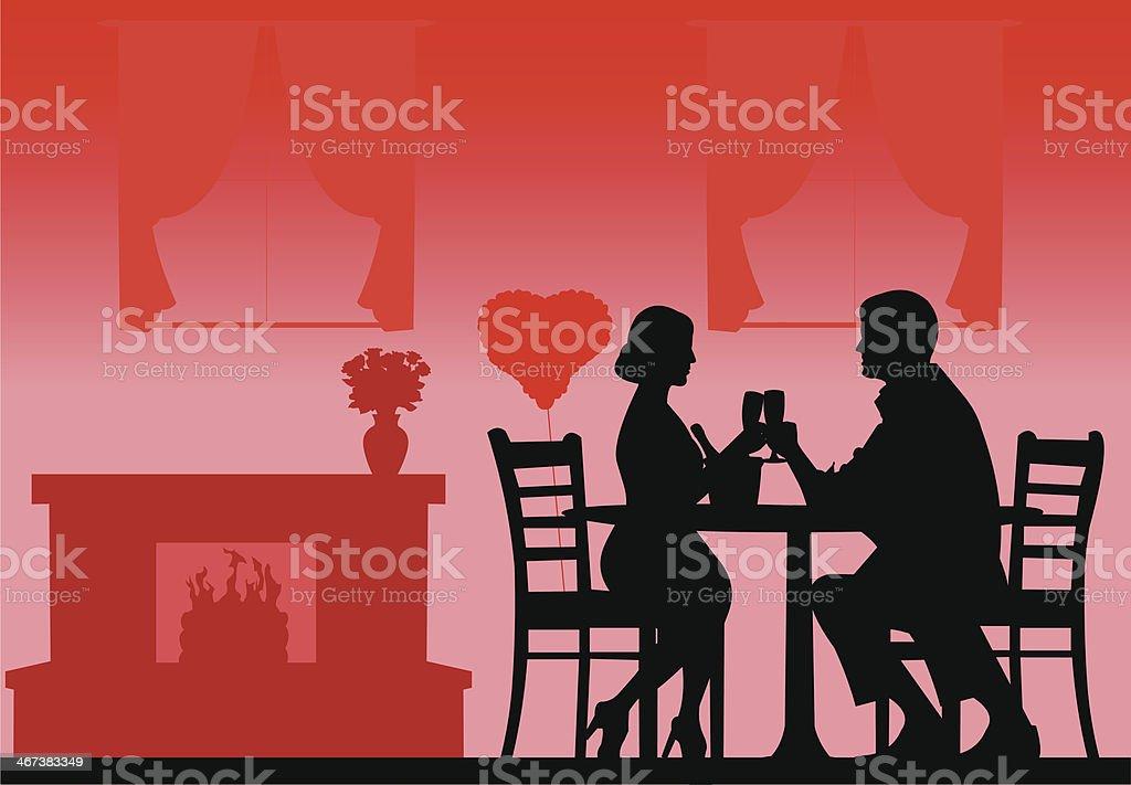 Romantic dinner on Valentine's day silhouette vector art illustration