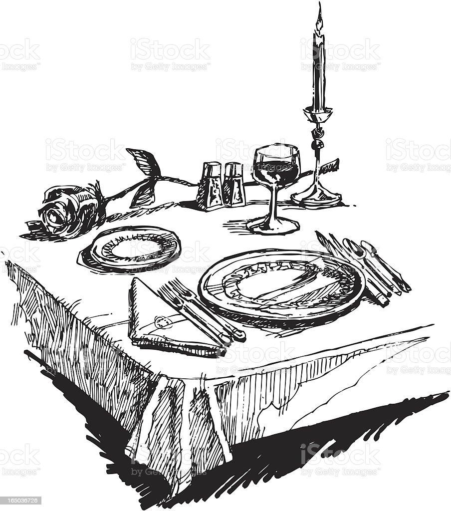 Romantic Dinner Setting royalty-free stock vector art