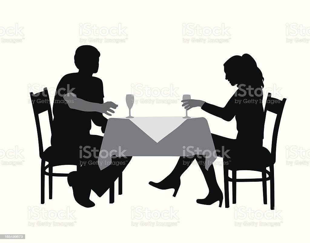 Romantic Dinner Vector Silhouette royalty-free stock vector art