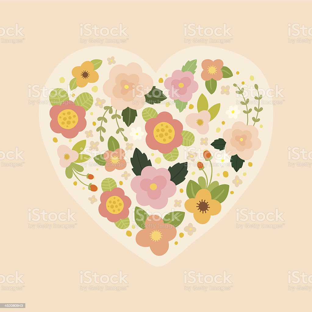 Romantic floral heart royalty-free stock vector art