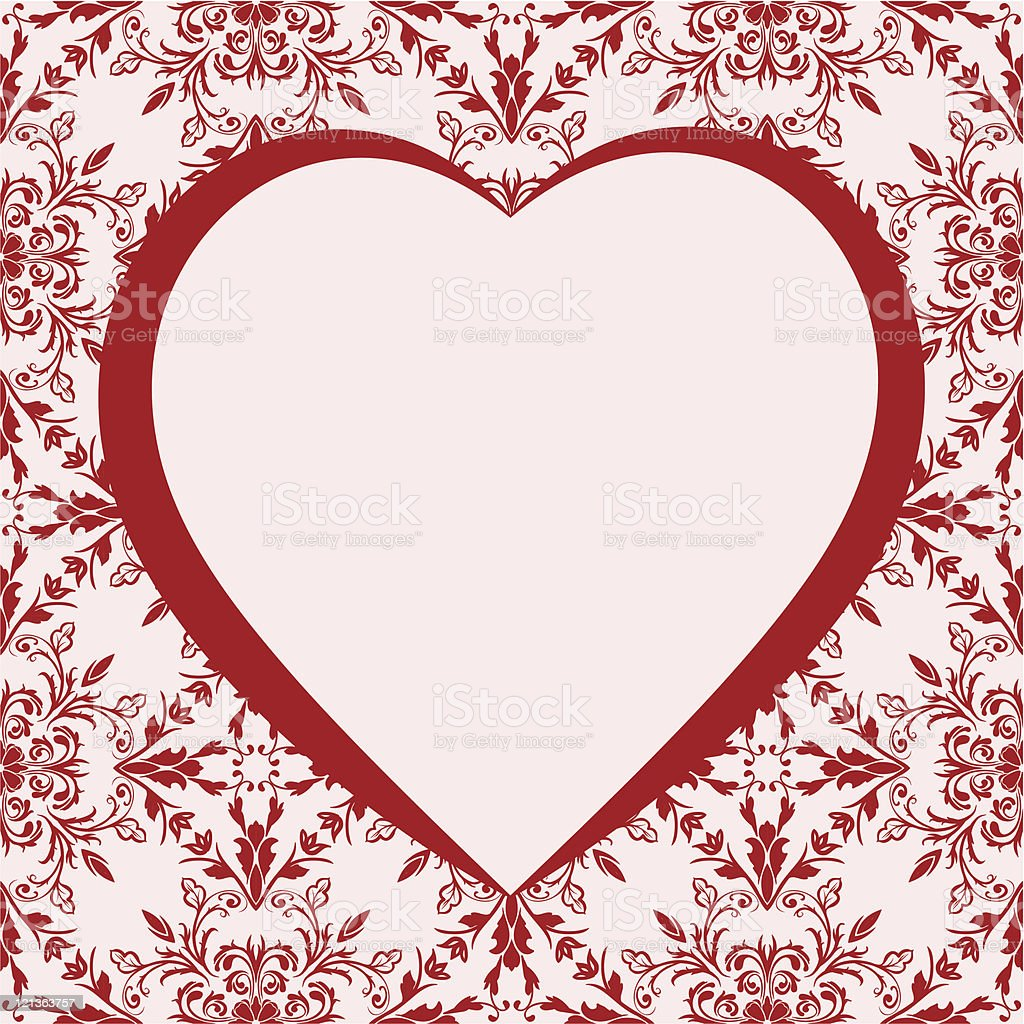 Romantic frame with heart. Background pattern included as seamless swatch royalty-free stock vector art