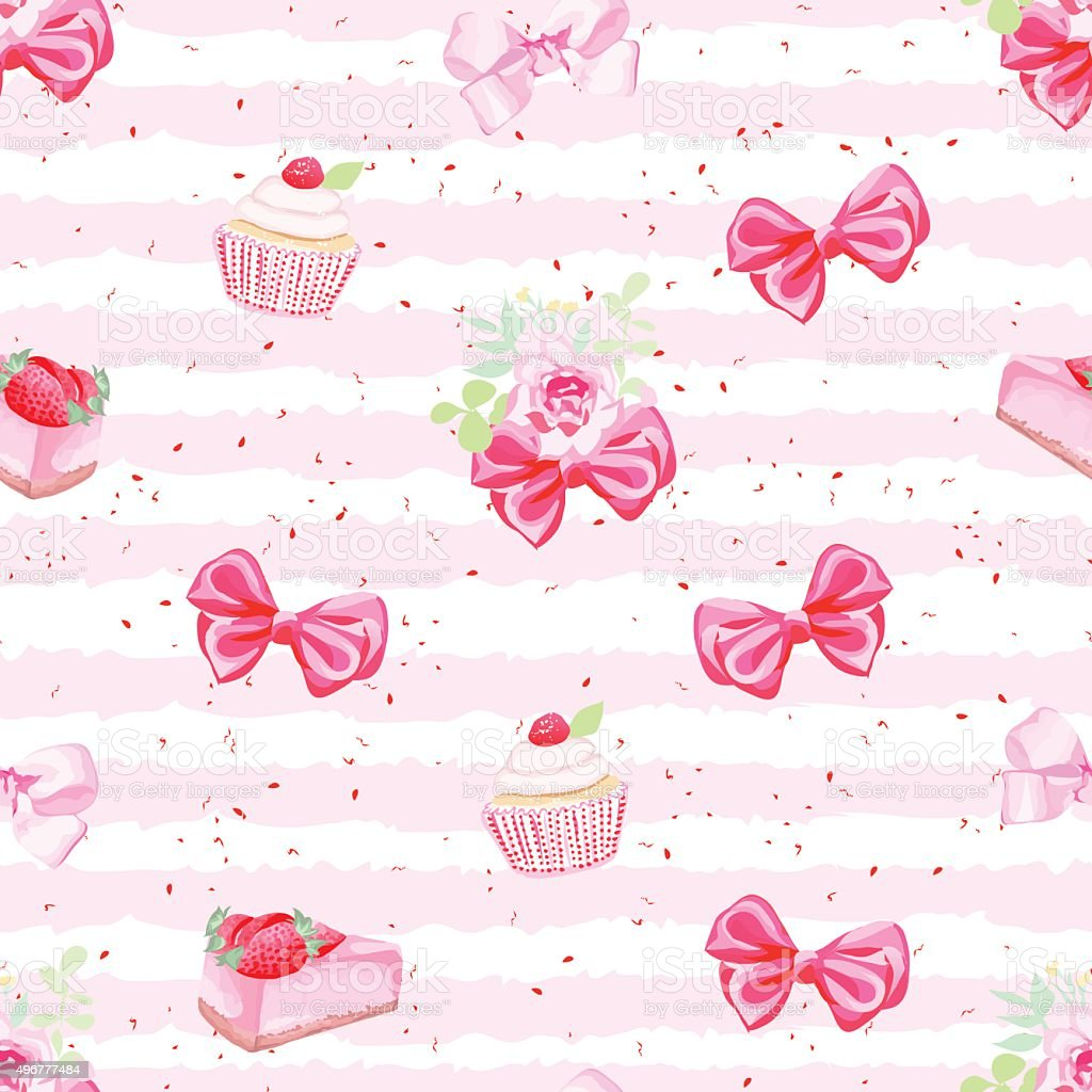 Romantic fresh pastries and bows seamless vector pattern vector art illustration